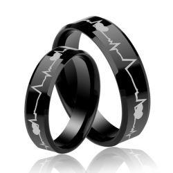 Black Heartbeat Style Titanium Steel Couple Rings