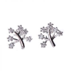 Tree Design Sterling Silver Stud Earrings