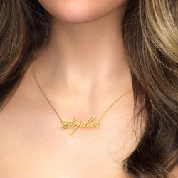 Gold Tone Beautiful-ES Style Name Necklace