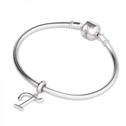 Letter T Dangling Charm Sterling Silver