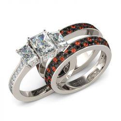 Three Stone Emerald Cut Sterling Silver Ring Set