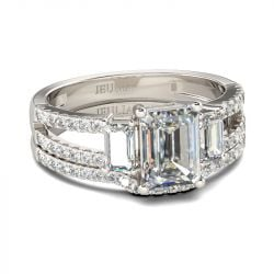 Three Stone Emerald Cut Sterling Silver Ring Set