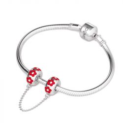 Red Flowers Safety Chain Sterling Silver
