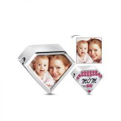 Triangle Shape Mom Photo Charm Sterling Silver