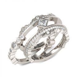 Bezel Setting Princess Cut Interchangeable Sterling Silver Ring Set