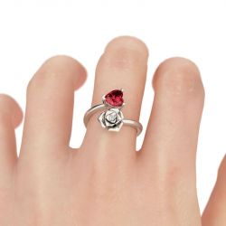 Flower Design Heart Cut Sterling Silver Ring