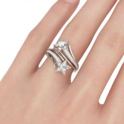 Bypass Star Design Round Cut Sterling Silver Ring