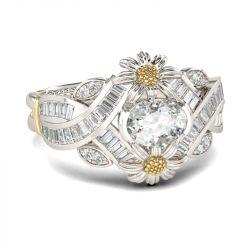 Daisy Twist Oval Cut Sterling Silver Ring