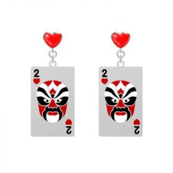 Heart Poker Opera Facial Makeup Drop Earrings