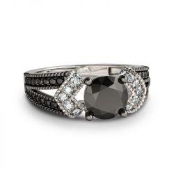 Split shank Round Cut Sterling Silver Ring