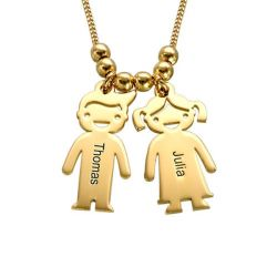 Gold Tone Kids Charms Engraved Necklace Sterling Silver
