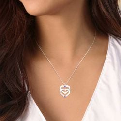 Double Heart Engraved Necklace  For Couples With Birthstones Sterling Silver