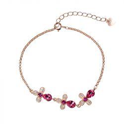 Rose Gold Tone Floral Sterling Silver Bracelet