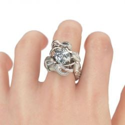 White Cushion Cut Sterling Silver Mermaid Ring