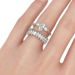 Three Stone Marquise Cut Sterling Silver Ring Set