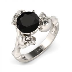 Jeulia Unique Round Cut Sterling Silver Skull Ring