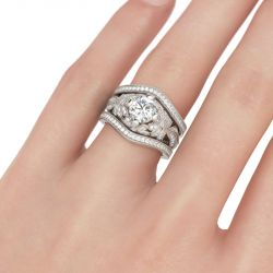 Floral Milgrain Round Cut Sterling Silver Ring Set