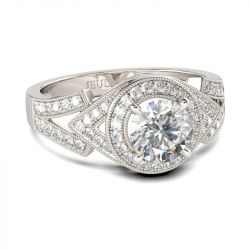 eulia Halo Milgrain Round Cut Sterling Silver Ring
