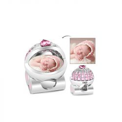 Baby's Pink Pram Photo Charm Sterling Silver