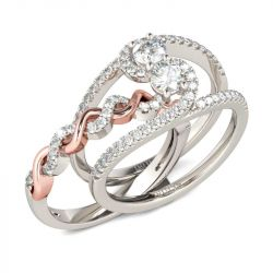Two Tone Twist Round Cut Interchangeable Sterling Silver Ring Set