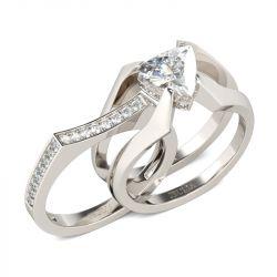Contemporary Design Trillion Cut Sterling Silver Ring Set