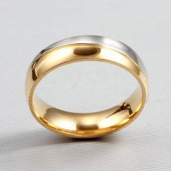 Two Tone Titanium Steel Couple Rings