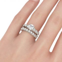 Twist Milgrain Round Cut Sterling Silver Ring Set