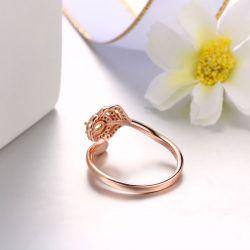 Rose Gold Tone Leaf Sterling Silver Adjustable Ring
