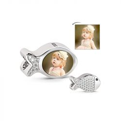 Cute Fish Photo Charm Sterling Silver