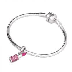 Pink Lipstick Charm Sterling Silver