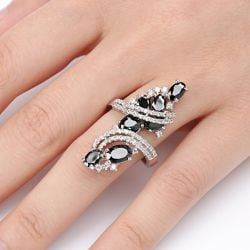 Fancy Black Stone Bypass Alloy Ring