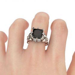 Vintage Princess Cut Sterling Silver Skull Ring