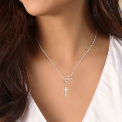 Infinity Cross Necklace Sterling Silver