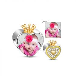 Golden Crown Heart Photo Charm Sterling Silver