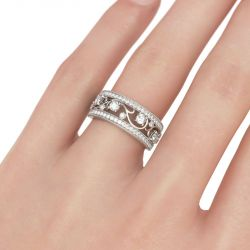 Milgrain Scrollwork Round Cut Sterling Silver Women's Band