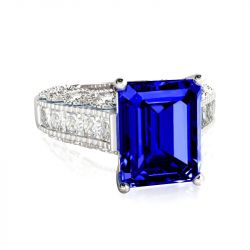 Large Center Stone Emerald Cut Sterling Silver Ring