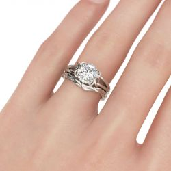Leaf Design Halo Round Cut Sterling Silver Ring Set