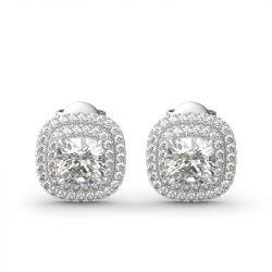 Double Halo Cushion Cut Sterling Silver Stud Earrings