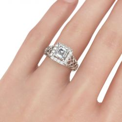 Scrollwork Halo Asscher Cut Sterling Silver Ring