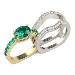 Two Tone Oval Cut Interchangeable Sterling Silver Ring Set