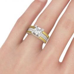 Milgrain Two Tone Round Cut Sterling Silver Ring