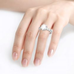 Round Cut Eternity Sterling Silver Ring