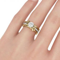 Two Tone Twist Round Cut Sterling Silver Ring Set