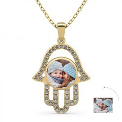 Gold Tone Personalized Photo Necklace Sterling Silver