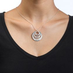 Three Disc Engraved Necklace Sterling Silver