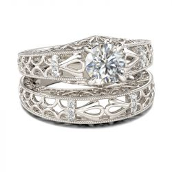 Vintage Scrollwork Round Cut Sterling Silver Ring Set
