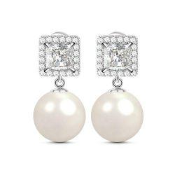 Halo Princess Cut Created Pearl Sterling Silver Earrings