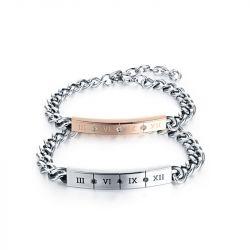 Roman Numbers Titanium Steel Couple's Bracelets