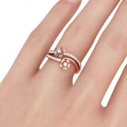 Rose Gold Tone Flower Round Cut Sterling Silver Ring