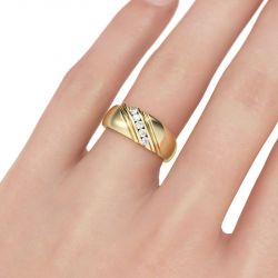 Gold Tone Diagonal Round Cut Sterling Silver Men's Band